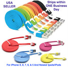 For iPhone 8, X, 7, 6, & 5 Charger 8-pin USB Flat  Lot, 3-10 ft cables