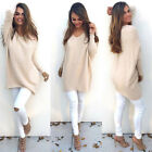 Women V Neck Sweater Jumper Oversized Baggy Long Sleeve Tops Pullover Knitwear