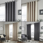 Denby Geometric Lined Eyelet Curtains - Natural , Grey