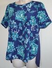 New Women's Floral Grid Top Blue Poly Rayon Crew Neck Short Sleeve Casual Shirt