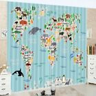 3D Printing Window Curtains World Map of Wild Animals Blockout Drapes Fabric NEW