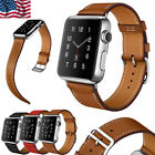 For Apple Watch Series 3 2 1 Wristwatch Band Cuff Leather iWatch Strap 38 42mm