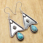 GREEN COPPER TURQUOISE & Other Stones ! 925 Silver Plated ANTIQUE LOOK Earrings