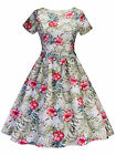 New Women Dress Vintage Tropical Print Fit Flare Short Sleeve Evening Party