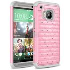 For HTC One M9 Case, Spot Diamond Studded Crystal Case + Screen Protector