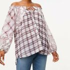 Ann Taylor Loft Plaid Off The Shoulder Top NWT