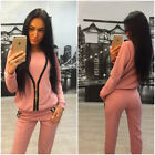 Ladies Women Casual Zipper Hoodie & Pants Gy Suit Sports Wear Solid Workout Suit