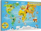 Kids Map of the World Educational Animal Canvas Print High Resolution Wall Art