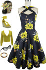 YELLOW Island Floral Caged Heart CRISS-CROSS Halter Dress w/ POCKETS! Sizes S-3X
