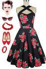 Black/Red ROSE Floral Caged Heart CRISS-CROSS Halter Dress w/POCKETS Sizes S-3X