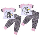 Baby Little Sister Big Sister Girls Leopard Printed Tops Pants Matching Outfits