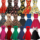 womens rockabilly dresses - Womens 50's Rockabilly Flared Swing Skater Dress Vintage Pin Up Christmas Party
