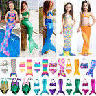 Kids Girls Mermaid Tail Swimmable Swimwear Bikini Set Beach Swimsuit Fancy Dress