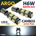 H6w Bax9s Xenon White Led Daytime Parking Side Light 9 Smd Bulbs Error Free 12v