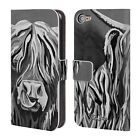 STEVEN BROWN HIGHLAND COW B&W LEATHER BOOK WALLET CASE FOR APPLE iPOD TOUCH MP3