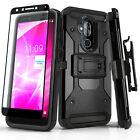 TANK COVER PHONE CASE & HOLSTER FOR [TMOBILE REVVL 2 PLUS] +BLACK TEMPERED GLASS