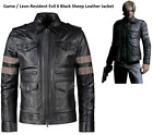 QASTAN Men's Gaming Character Leon Resident Evil 6 Black Leather Jacket QMCJ03