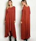 Women's Draping Maxi Dress Long Sleeve Flowy Casual Oversized Sweater Knit Small