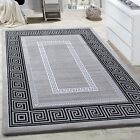 Silver Grey Rug Versace Style Pattern Small Extra Large Soft LCarpet Woven Mats