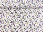 Vintage PolyCotton Fabric PURPLE Green Yellow Cream Floral Flower Material Craft