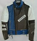 HANDMADE MENS FASHION JACKET REAL LEATHER SILVER STUD STYLE MOTORCYCLE JACKETS