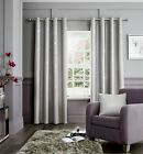 Catherine Lansfield Fully Lined Luxury Glamour Weave Eyelet Curtains Silver