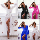 Women Sexy Lace Sheer Long Robe Night Gown Bathrobe Pajamas Sleepwear Nightdress