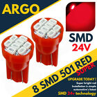 Bright Red 24v Capless Side Light 501 W5w Led Smd T10 Hid Wedge Bulbs Hgv Truck