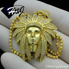 """18-30""""MEN 925 STERLING SILVER 2MM GOLD BEAD CHAIN AMERICAN INDIAN PENDANT*GP197"""