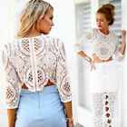 NEW Womens Sexy Hollow Out Crochet Lace Long Sleeve Crop Tops T Shirt Blouse Top