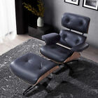Lounge Chair Eames With Ottoman Recliner Genuine Rosewood 100% Italian Leather