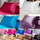 Pure Color 100% Standard Silk~y Satin Pillow Case Bedding Pillowcase Smooth Soft image
