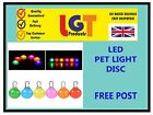 LED Disc Pet Dog Cat Collar Night Light Safety Clip Flashing Neon Pendant UK 3D