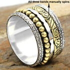 TWO TONE-SPINNER WIDE BAND Solid 925 Sterling Silver Jewelry Ring Choose Size