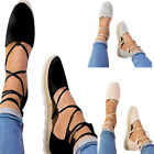 Ladies Low Heel Espadrilles Lace Tie Up Canvas Flat Summer Sandals Loafers Shoes