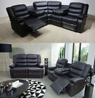 ‪‪Somerset Sofa 3 + 2 Seater Recliner With Drinks Holder Leather ✅ Black ✅ Brown