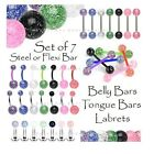 7 x Glitter Belly Bars Tongue Bars or Labret Tragus Ear/Earring - Steel or Flexi