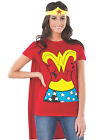 Sexy Red Wonder Woman T Shirt  Cape Adult Womens Halloween Costume