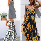 Lady Summer Printed Casual Sleeveless Long Bohemia Evening Party Beach Dress New