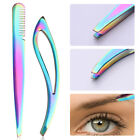 Stainless Steel Eyebrow Tweezer Flat Tip Eyelash Clip Face H