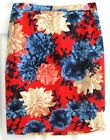 Talbots Red with Bold Flowers Straight Skirt