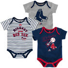 MLB Infant Boy's Home Run Bodysuit Set of 3 Baby Baseball Creeper Licensed NEW