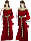 Medieval Red Maid Marian Game of Thrones Dress Gown Costume 10 12 14 16 18 20 22