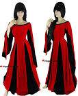 Medieval Queen Hearts Black Red Game Thrones Dress Gown Costume 10 12 14 16 18