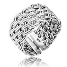 Ladies Shipton and Co Trellis Hand-Woven Silver Ring TFE126NS