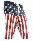 Mens Board Shorts American Flag Distressed Swim Trunks USA Patriotic S-3XL