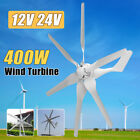 12V 24V 400W Power 6 Fiber Blades Horizontal Wind Turbine Home Generator Kit Set