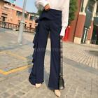 Women Ruffles Bell Bottom Wide Leg Pants Casual High Waist Long OL Trousers Q6B2