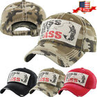 Kiss My Bass Fishing Vintage Distressed Baseball Cap Adjustable Hat