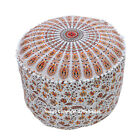 Indian Mandala Ethnic Round Seating Ottoman Cotton Floor Pouffe Cover Bean Bag